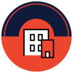 An icon of two buildings in a red circle with navy blue accents