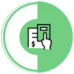 An icon of a hand with a calculator on a green and white circle