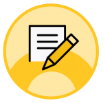 An icon of a white paper and yellow pencil on a yellow circle