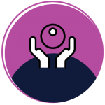 An icon of two hands holding a purple globe in a purple and navy blue circle