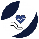 A heart over a hand icon in a navy and white circle