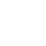 A white version of the NMIC logo with two white arches above it