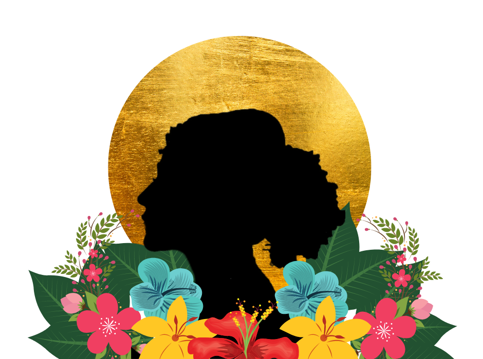 A black silhouette of a woman is placed in front of a large golden circle. Her bust is wreathed in flowers and leaves.