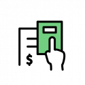 An icon of a paper with a dollar sign and a hand on a green calculator