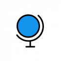 a blue globe icon